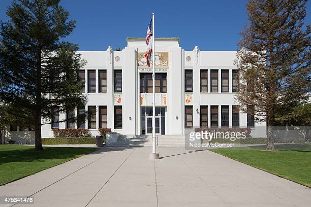 taft union high school main entrance facade with flags - high school building stock pictures, royalty-free photos & images
