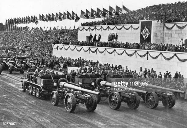 Tag der Wehrmacht in Nuremberg 1935 The motorised heavy artillery section passes by the podium