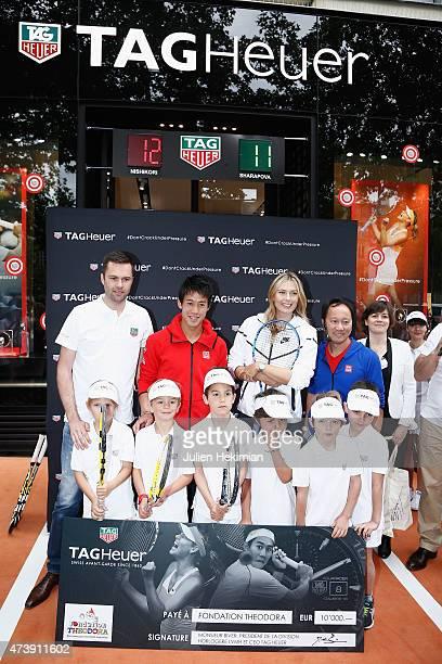 Tag Heuer France Director Managing Mathieu Selzer Japanese tennis champion Kei Nishikori Russian tennis champion Maria Sharapova former American...