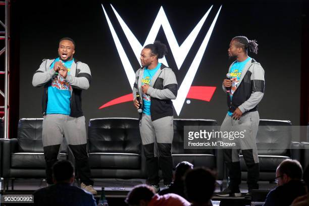 Tag Team Champions Big E Xavier Woods and Kofi Kingston of The New Day from ''WWE Monday Night Raw 25th Anniversary' on USA speak onstage during the...