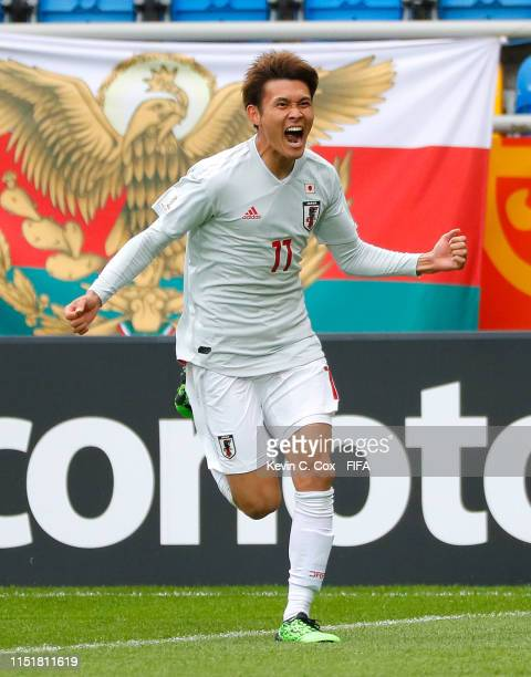 Tagawa of Japan celebrates after scoring his team's second goal during the 2019 FIFA U-20 World Cup group B match between Mexico and Japan at Gdynia...