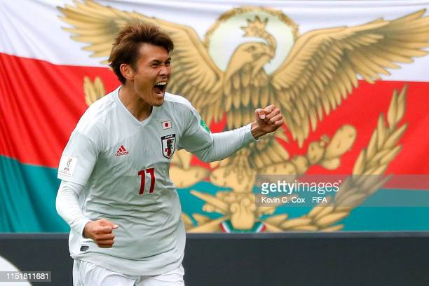 Tagawa of Japan celebrates after scoring his team's second goalduring the 2019 FIFA U20 World Cup group B match between Mexico and Japan at Gdynia...