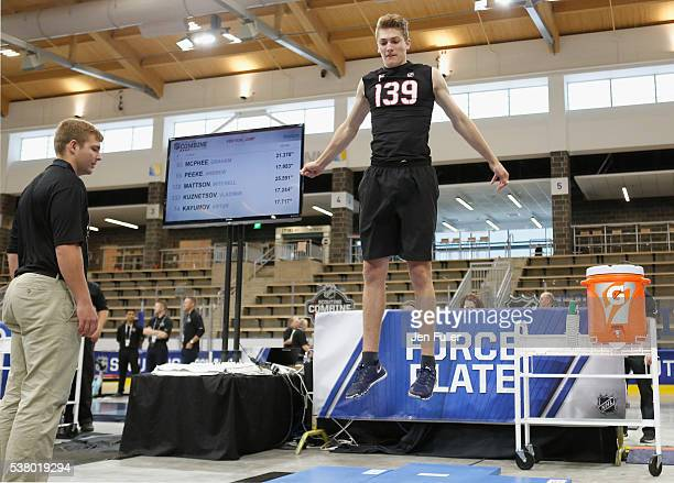 Tage Thompson does the Force Plate test during the NHL Combine at HarborCenter on June 4 2016 in Buffalo New York