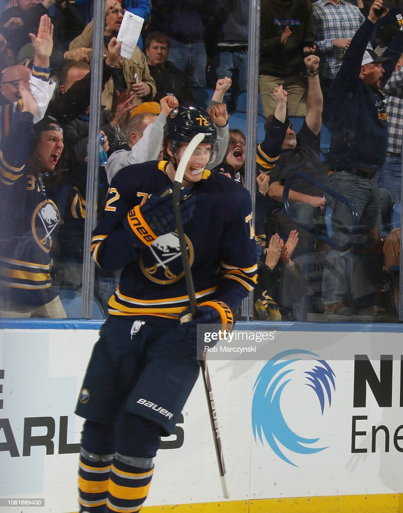 Tage Thompson of the Buffalo Sabres celebrates his first period goal