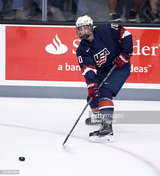 Tage Thompson of the US National Under18 Team skates during exhibition NCAA hockey against the Providence College Friars at Schneider Arena on...