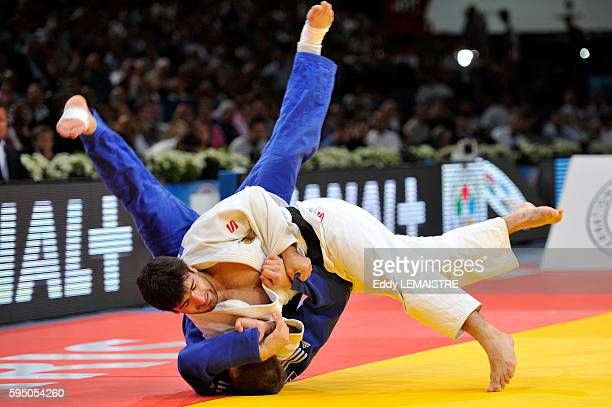 Tagir Khaybulaev of Russia fights against Maxim Rakov of Kazakhstan during the final of the men's under 100kg category of the World Judo...