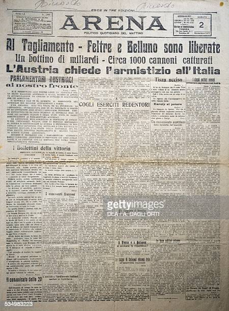 Tagliamento Feltre and Belluno are released Austria asking Italy for an armistice front page of the Arena daily November 2 1918 First World War Italy...