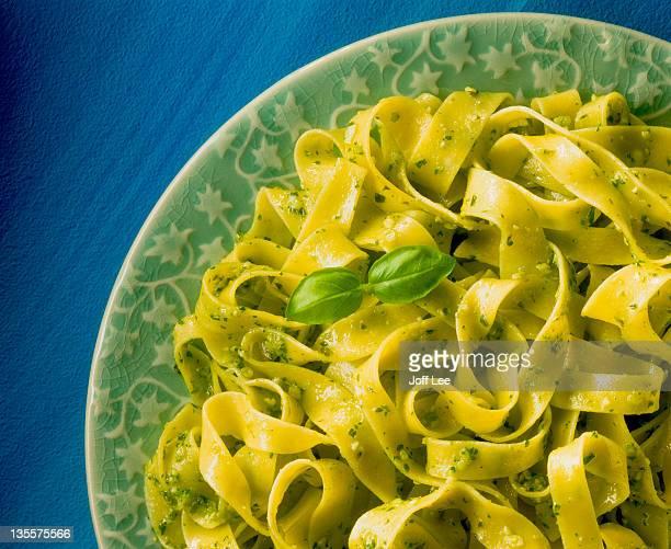 tagliatelle with green pesto - pesto stock pictures, royalty-free photos & images