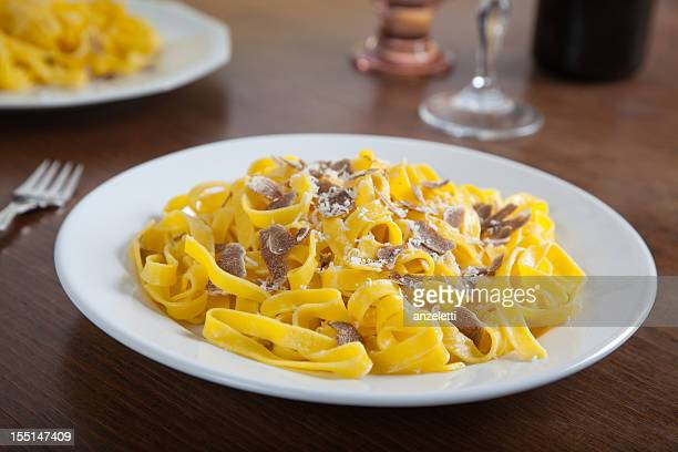 tagliatelle with white truffles - piedmont italy stock pictures, royalty-free photos & images