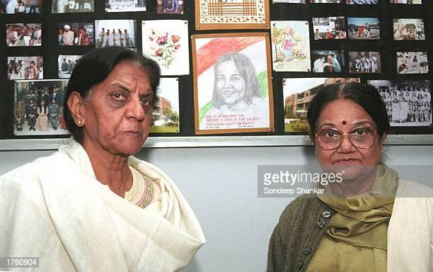 Tagore Baal Niketan School Director Vimla Raheja and Deputy Director Daljit Madan who taught astronaut Kalpana Chawla stand next to a memorial school...