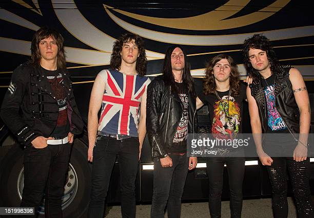 Tagore Grey Dhani Mansworth Matt Jones Swoggle and Ben Brookland of the British hard rock band 'The Treatment' poses for a photo backstage during...