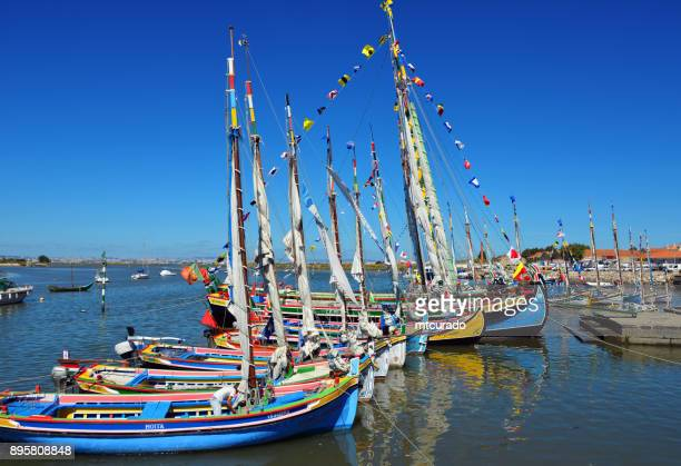 tagus river traditional boats with bunting during festa da moita, moita, portugal - traditionally portuguese stock pictures, royalty-free photos & images