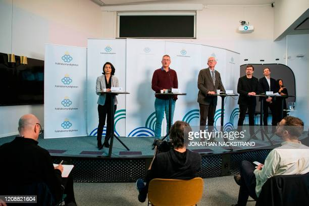 Taha Alexandersson of the National Board of Health and Welfare in Sweden Epidemiologist Anders Tegnell of the Public Health Agency of Sweden Johan...