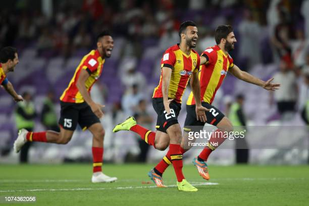 Taha Khenissi of ES Tunis celebrates victory following the penalty shoot out during the FIFA Club World Cup UAE 2018 5th Place Match between ES Tunis...