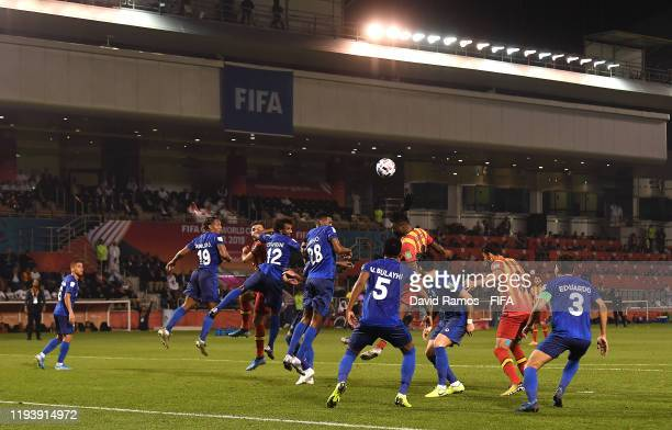 Taha Khenissi of Esperance Sportive de Tunis heads the ball during the FIFA Club World Cup 2nd round match between Al Hilal and Esperance Sportive de...