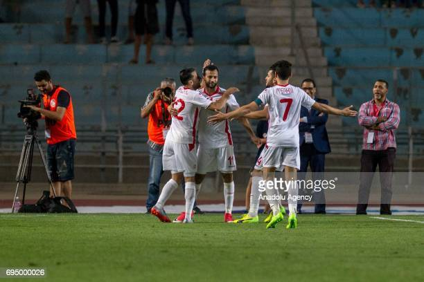 Taha Yassine Khnissi of Tunisia celebrates after scoring a goal during the African Cup of Nations 2019 qualifier football match between Tunisia and...