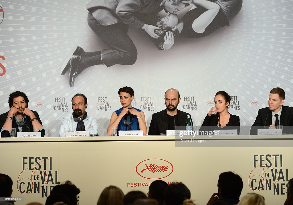 Tahar Rahim, director Asghar Farhadi, actress Berenice Bejo, Ali Mosaffa, Pauline Burlet and Alexandre Mallet-Guy attend 'Le Passe' Press Conference during the 66th Annual Cannes Film Festival at the Palais des Festivals on May 17, 2013 in Cannes, France.