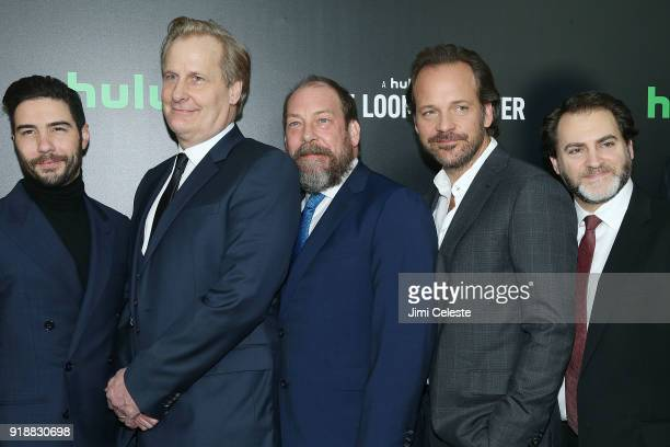 Tahar Rahim Jeff Daniels Bill Camp Peter Sarsgaard and Michael Stuhlbarg attend Hulu's 'The Looming Tower' Series Premiere at The Paris Theatre on...