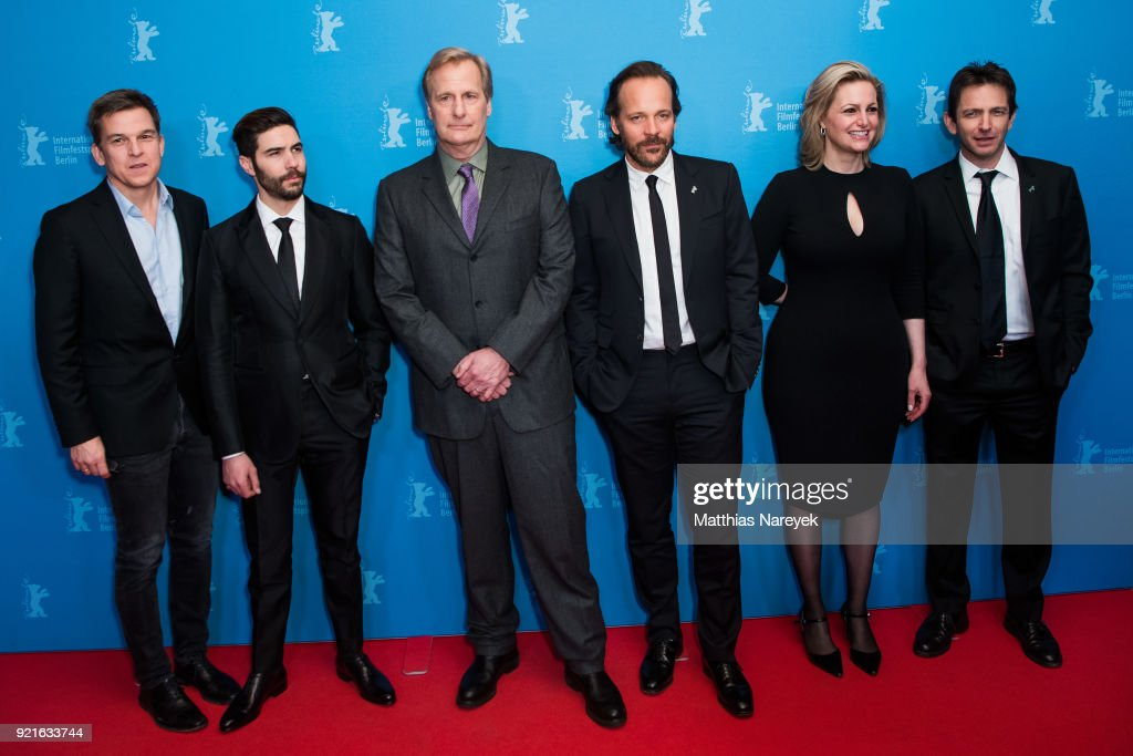 Tahar Rahim, Jeff Daniels, Peter Sarsgaard, guest and Daniel Futterman attend the 'The Looming Tower' premiere during the 68th Berlinale International Film Festival Berlin at Zoo Palast on February 20, 2018 in Berlin, Germany.