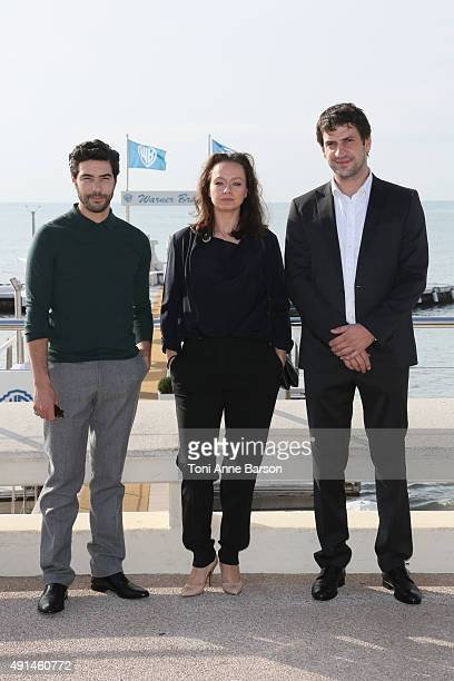 Tahar Rahim Samantha Morton and Goran Bogdan attend 'The Last Panthers' photocall as part of MIPCOM 2015 on La Croisette on October 5 2015 in Cannes...