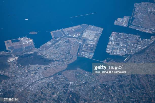 Tahara city in Aichi prefecture in Japan daytime aerial view from airplane