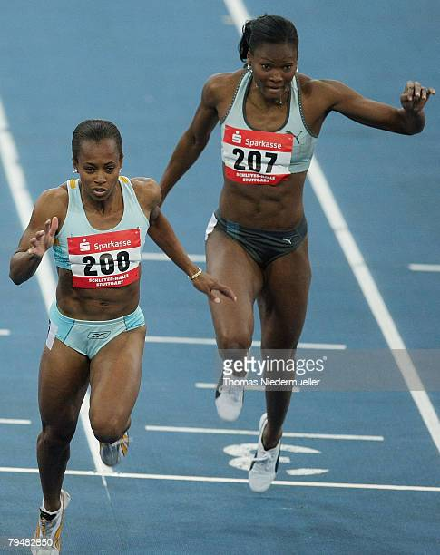 Tahesia Harrigan of the Virgin Isalnds and Muriel Hurtis-Houairin of France in action at the 60 meters during the Sparkassen Cup 2008 at the...