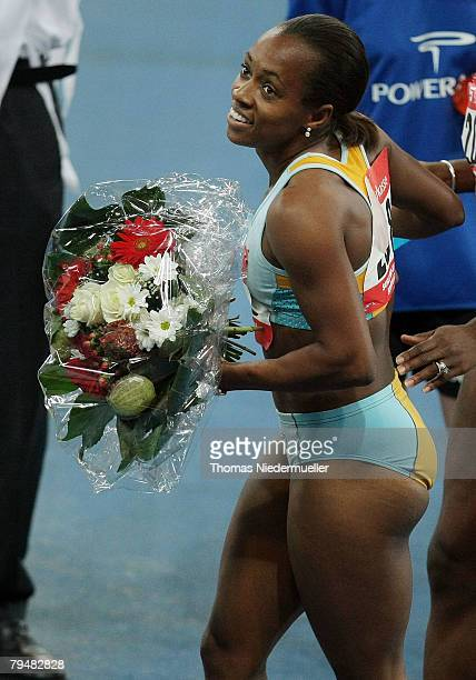 Tahesia Harrigan of the Virgin Islands celebrates after the 60 meters during the Sparkassen Cup 2008 at the Hanns-Martin Schleyer Hall on February 2,...