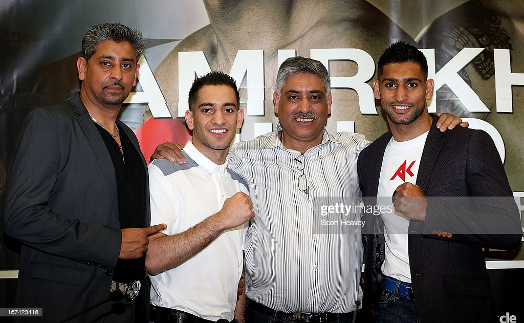 Tahir Khan, Haroon Khan, Shah Khan and Amir Khan during a Press Conference at Mercure Sheffield St. Paul's Hotel & Spa on April 25, 2013 in Sheffield, England.