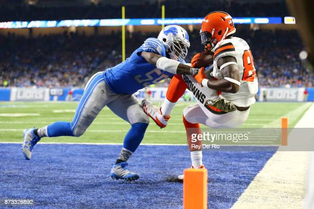 Tahir Whitehead of the Detroit Lions breaks up a pass intended for David Njoku of the Cleveland Browns during the first half at Ford Field on...