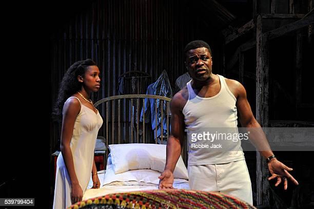 Tahirah Sharif as Esther Jade Anouka as Rosa and Danny Sapani as Ephraim in Errol John's Moon on a Rainbow Shawl directed by Michael Buffong at the...