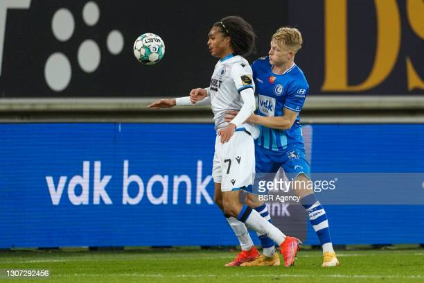 Tahith Chong of Club Brugge and Andreas Hanche Olsen of KAA Gent during the Jupiler Pro League match between KAA Gent and Club Brugge KV at Ghelamco...