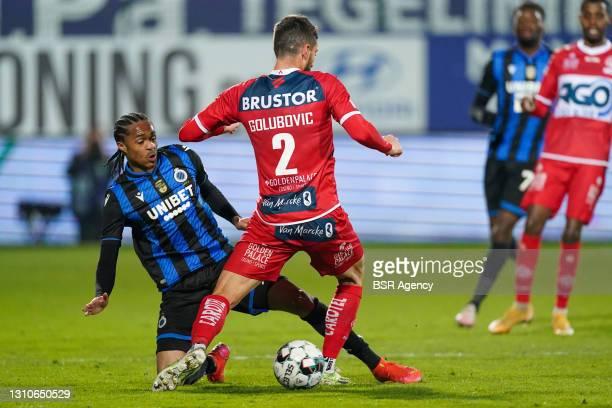 Tahith Chong of Club Brugge and Petar Golubovic of KV Kortrijk during the Jupiler Pro League match between KV Kortrijk and Club Brugge at...