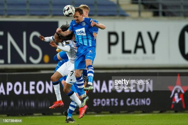 Tahith Chong of Club Brugge, Andreas Hanche Olsen of KAA Gent and Sven Kums of KAA Gent during the Jupiler Pro League match between KAA Gent and Club...