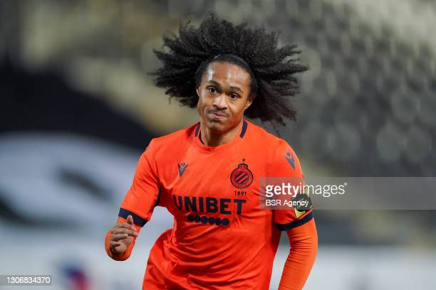 Tahith Chong of Club Brugge during the Jupiler Pro League match between Charleroi and Club Brugge at Stade du Pays de Charleroi on March 12, 2021 in...