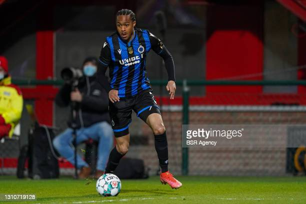 Tahith Chong of Club Brugge during the Jupiler Pro League match between KV Kortrijk and Club Brugge at Guldensporen Stadion on April 3, 2021 in...