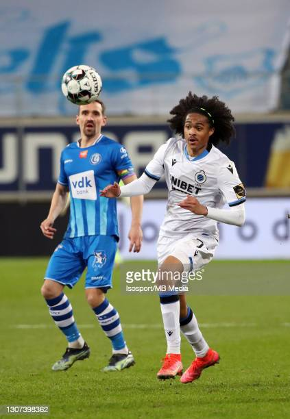 Tahith Chong of Club Brugge in action with the ball during the Jupiler Pro League match between KAA Gent and Club Brugge KV at Ghelamco Arena on...