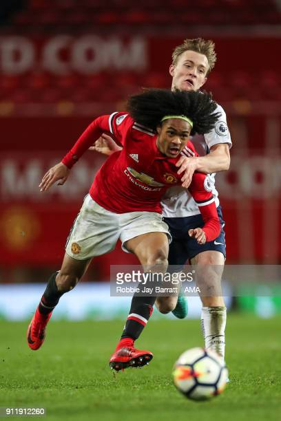 Tahith Chong of Manchester United and Oliver Skipp of Tottenham Hotspur during the Premier League 2 match between Manchester United and Tottenham...