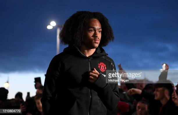 Tahith Chong of Manchester United arrives prior to the FA Cup Fifth Round match between Derby County and Manchester United at Pride Park on March 05,...