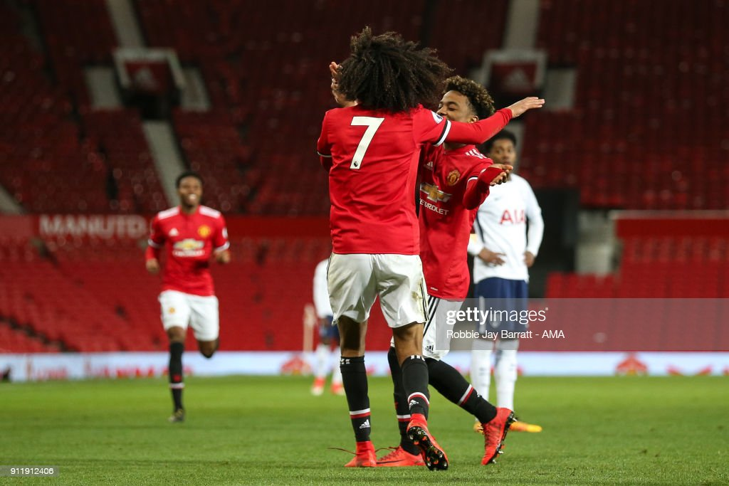 Tahith Chong of Manchester United celebrates after scoring a goal to make it 1-0 during the Premier League 2 match between Manchester United and Tottenham Hotspur at Old Trafford on January 29, 2018 in Manchester, England.
