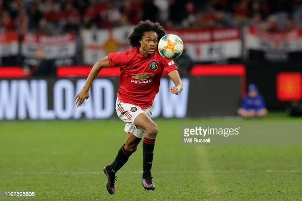 Tahith Chong of Manchester United controls the ball during a pre-season friendly match between Manchester United and Leeds United at Optus Stadium on...