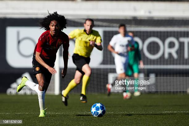Tahith Chong of Manchester United controls the ball during the UEFA Youth League match between Valencia and Manchester United at Paterna Training...