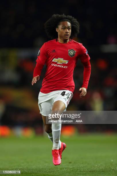 Tahith Chong of Manchester United during the UEFA Europa League round of 32 second leg match between Manchester United and Club Brugge at Old...
