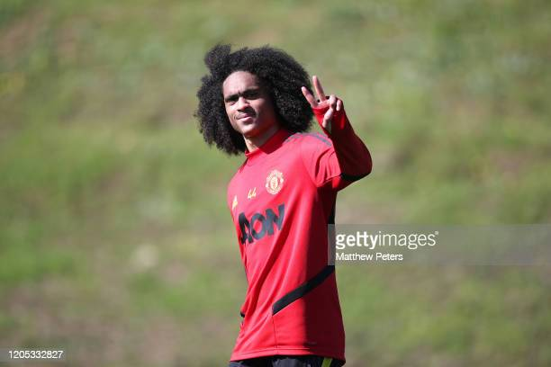 Tahith Chong of Manchester United in action during a first team training session on February 10, 2020 in Malaga, Spain.