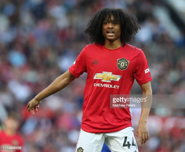 Tahith Chong of Manchester United in action during the Premier League match between Manchester United and Leicester City at Old Trafford on September...