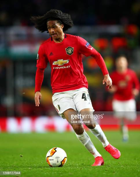 Tahith Chong of Manchester United in action during the UEFA Europa League round of 32 second leg match between Manchester United and Club Brugge at...