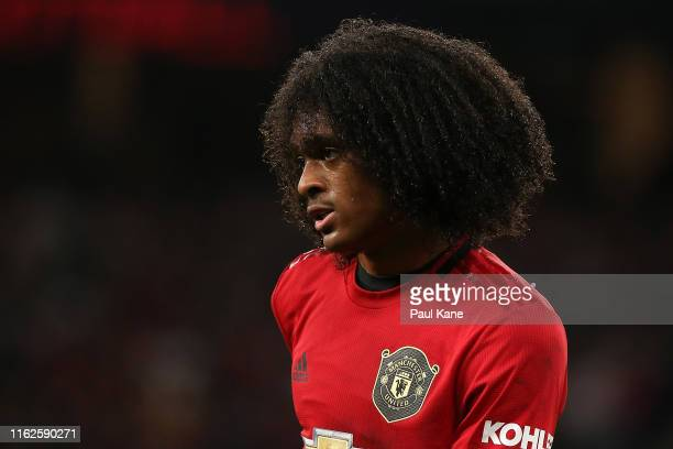 Tahith Chong of Manchester United looks on during a pre-season friendly match between Manchester United and Leeds United at Optus Stadium on July 17,...
