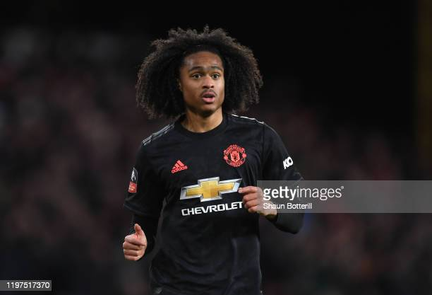 Tahith Chong of Manchester United looks on during the FA Cup Third Round match between XX and XX at Molineux on January 04, 2020 in Wolverhampton,...