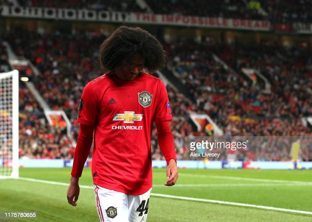 Tahith Chong of Manchester United reacts as he leaves the pitch during the UEFA Europa League group L match between Manchester United and FK Astana...
