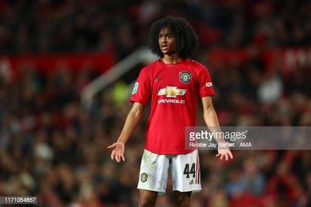 Tahith Chong of Manchester United reacts during the Carabao Cup Third Round match between Manchester United and Rochdale AFC at Old Trafford on...