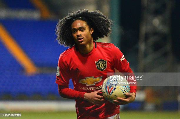 Tahith Chong of Manchester United U21s in action during the EFL Trophy match between Tranmere Rovers and Manchester United U21s at Prenton Park on...